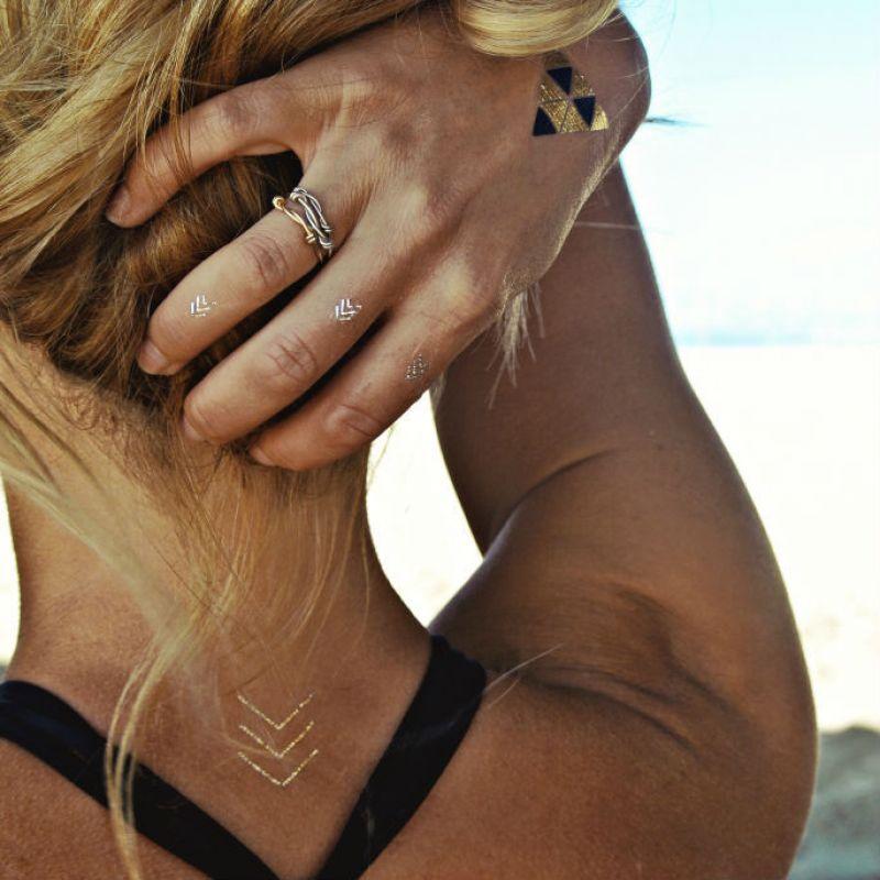 Tillfälliga tatueringar - guld, silver och svart DAKOTA