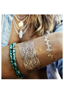 Gull og sølvfargede midlertidige tattoveringer, smykker og fjærdesign ZAHRA