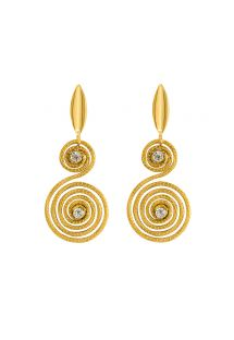 Handmade strass spiral earrings - CARACOL DOURADO