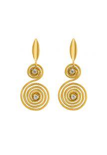 Handgefertigte spiralförmige Strass-Ohrringe - CARACOL DOURADO
