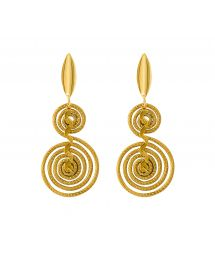 Earrings in golden grass with gold-coloured details - GOLDEN