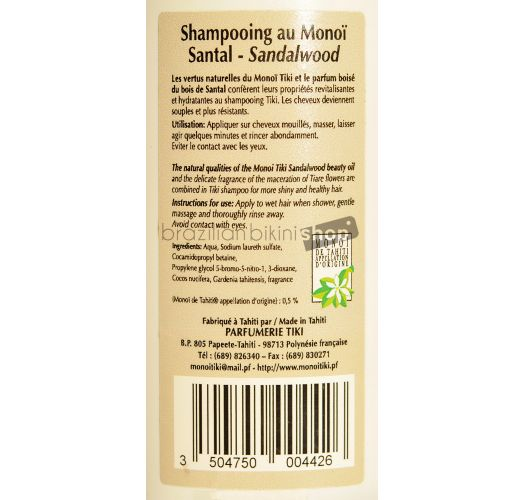 Shampoo enriched with monoi oil, sandalwood fragrance - SHAMPOOING TIKI AU MONOÏ SANTAL 250ML