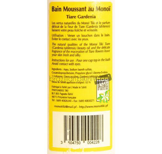 Monoi foaming bath, scented with tiare flowers, 250 ml - BAIN MOUSSANT TIKI TIARÉ 250ML