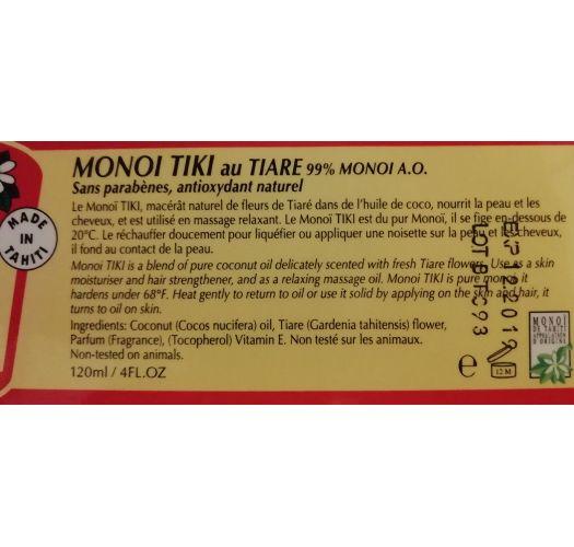 Monoi oil jar 120 ml - tiare - MONOI TIKI TIARE POT 120ML