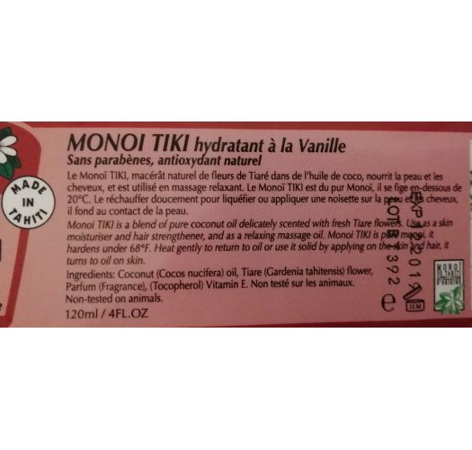 Monoi-Öl im 120 ml Schraubglas - Vanilleduft - MONOI TIKI VANILLE POT 120ML