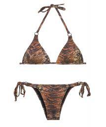 Brown animal print triangle top bikini with sequins - PANTANAL