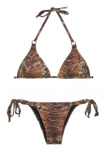 Brown animal print triangle top bikini with sequins - PANTANAL