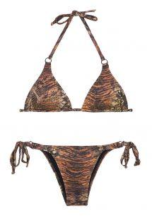 Bikini z trójkątami, brązowa skóra zwierzęca, cekiny - PANTANAL