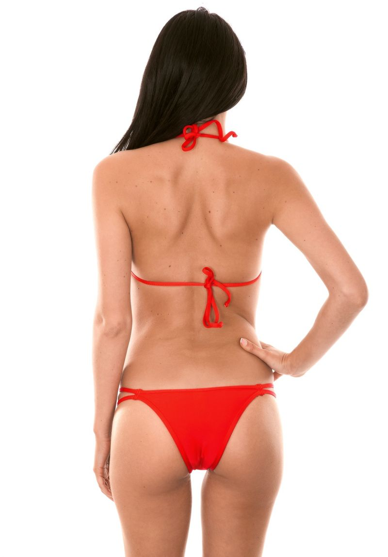 Red triangle bikini, Brazilian bottom with double laces - RED CORT DUO