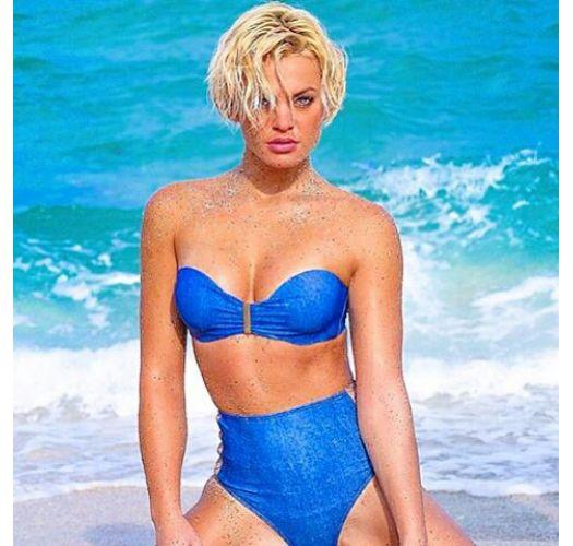 High-waisted dual material swimsuit bottom - CALCINHA JEANS TILAPIA