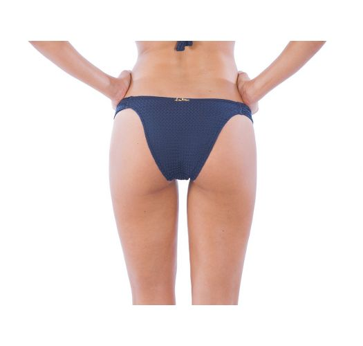 Textured navy blue bikini bottom, low-rise - CALCINHA ARABESQUE NAVY
