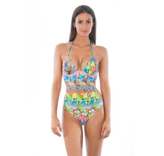 Trikini con relleno en las copas, contonos tropicales llenos de color - ANNUMBI