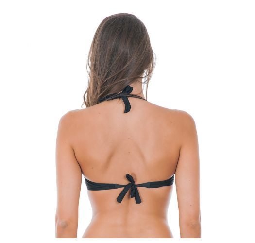 Solid black balconette bikini top with underwiring - SOUTIEN DRAPEADO BLACK