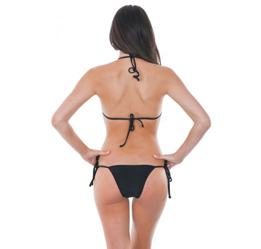 Swimming costume with black and transparent triangle top - PRETO STRAP LACINHO