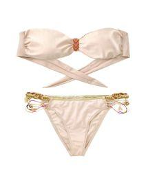 Pale pink and gold Amenapih bandeau swimsuit - FANTASYSWIM PINK