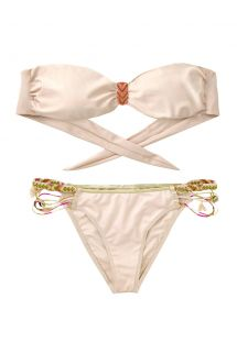 Pale pink and gold Amenapih bandeau swimsuit - FANTASYSWIM PINK