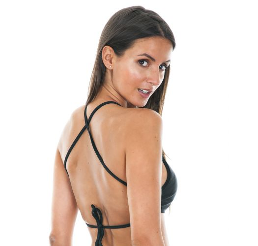 Black crop-top swimsuit top with cross-over straps - SOUTIEN NOITI