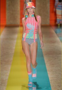 1-Piece Fluorescent Striped Fashion Show Swimsuit - GANA