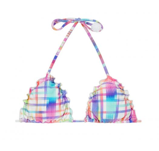 Triangle top in checked print with pompoms - SOUTIEN PLAID FRUFRU