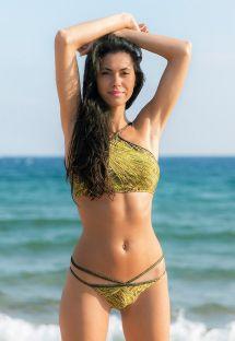 Bikini crop top imprimé doré lanières lurex - CROPPED STRAPPY RELUZENTE
