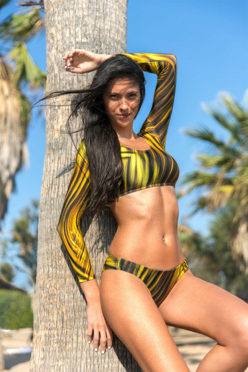 Brazilian cut yellow graphic print bikini bottom - CALCINHA MLONGA LUXOR
