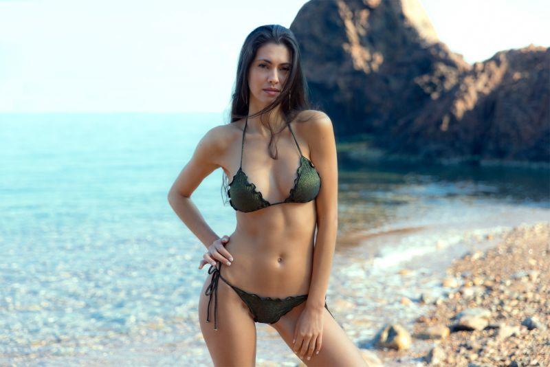 Black lurex string bikini with scalloped edges - RADIANTE PRETO FRUFRU