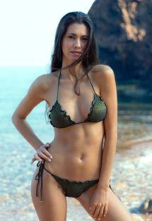 Dalgalı kenarlı, siyah lüreks kırışık bikini - RADIANTE PRETO FRUFRU