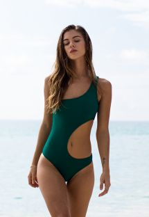 Green asymmetric single shoulder one-piece swimsuit - DUNA GREEN ASSIMETRICO