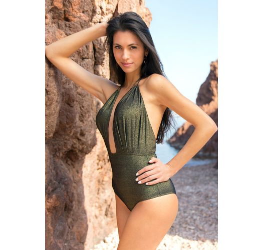 Black lurex one-piece swimsuit with plunging neckline - RADIANTE PRETO DECOTE PROFUNDO