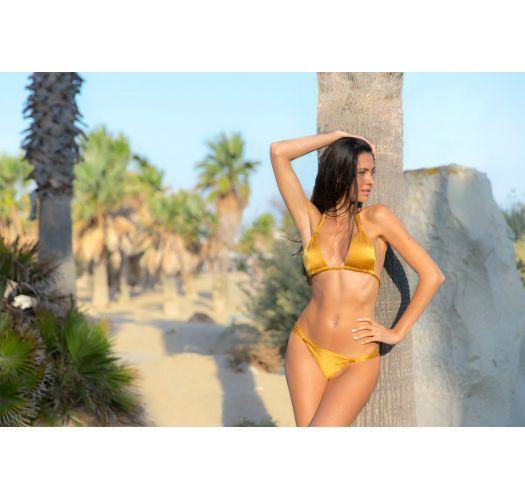 Gold sliding bikini bottom with fabric rings - CALCINHA GOLD CORTINAO