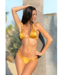 Bikini triangle foulard doré coulissant - GOLD CORTINAO