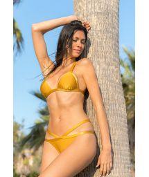 Gold cross back triangle bikini with strappy bottom - GOLD TRIANGULO
