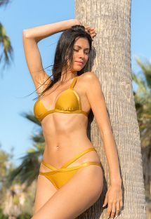 Gold cross back triangle bikini with strappy bottom - GOLD TRIANGULO