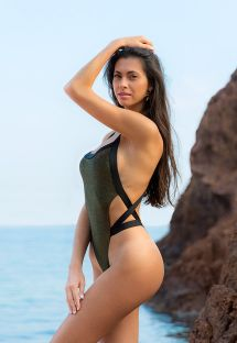 Unusual glossy black lurex one-piece swimsuit - RADIANTE PRETO INFINITY