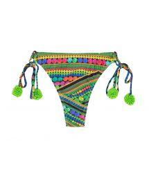Green printed thong bikini bottom with tassels - CALCINHA TRICOTART MULTI