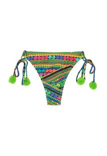 Green printed thong bikini bottom with tassels - CALCINHA TRICOTART MULTI