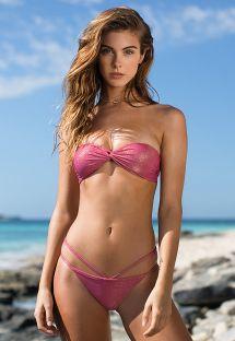 Pembe lüreks bükülmüş efektli bandeau bikini - RADIANTE ROSA TOMARA QUE CAIA
