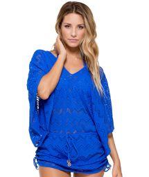Blue crochet kaftan-style beach dress- CABANA PRINCESS BLUE