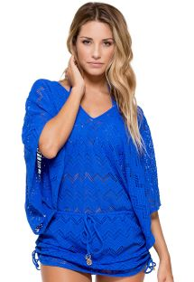 Blue crochet kaftan-style beach dress - CABANA PRINCESS BLUE