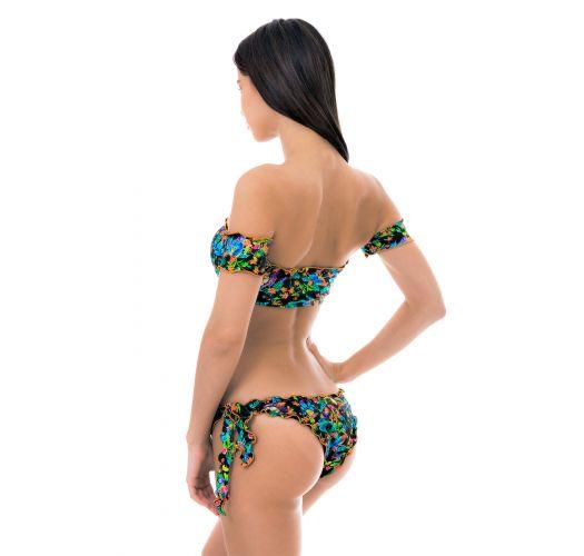 Black floral crop-top bikini with sleeves - REALITY FLOWER OFF SOULDER