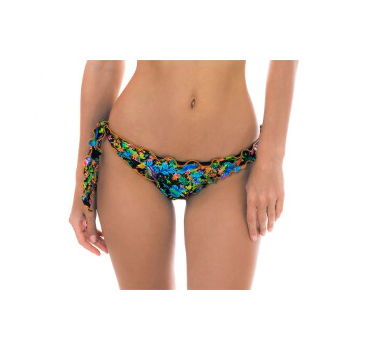 Black ruched floral tie-side bikini briefs - CALCINHA REALITY FLOWER OFF SOULDER