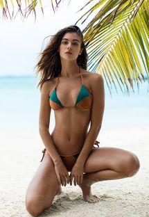 Bikini brasiliano bi-materiale verde - COPPER GREEN