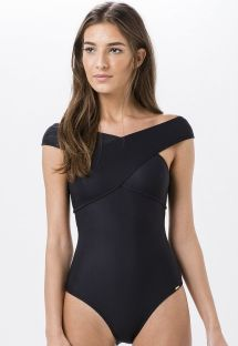 Black one-piece swimsuit with criss-cross front and back - NELMA