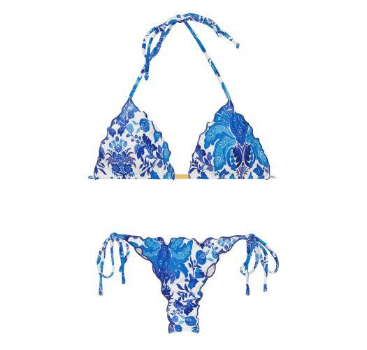 Blue and white side-tie string scrunch bikini - HORTENSIA FRUFRU