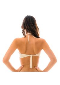 Bandeau pink & white crochet bikini top - TOP IRACEMA ROSA