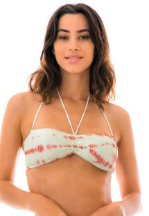 Bandeau blue & brown crochet bikini top - TOP ELENA
