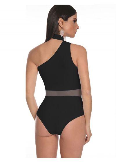 Black & nude asymmetrical one-piece swimsuit with choker - MAIO OMBRO PRETO