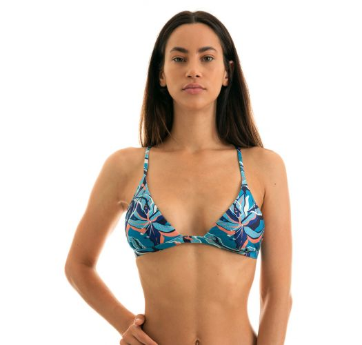 Blue and pink printed triangle top with straight straps - TOP LILLY TRI FIXO