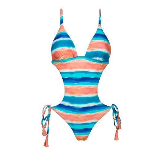 Brazilian monokini in blue and coral pattern - UPBEAT TRIKINI