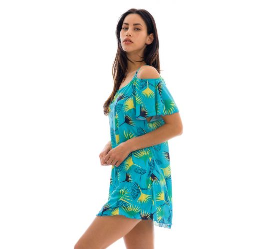 Blue graphic flowers beach dress bare shoulders - SAIDA FLOWER GEOMETRIC OFF SHOULDER